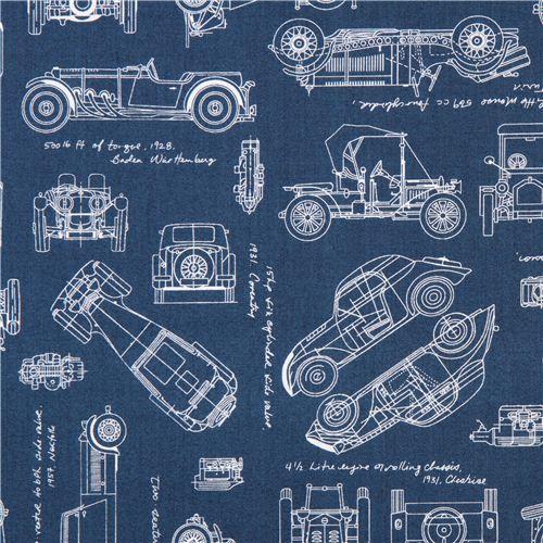 Tela azul dibujo coche antiguo vintage blueprints de robert blue vintage blueprints car draft plan fabric robert kaufman malvernweather Images