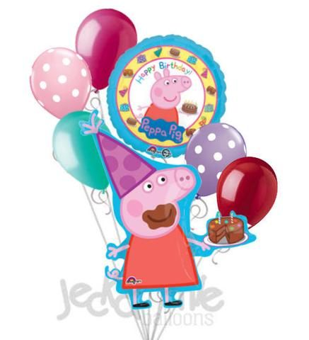 Peppa Pig Happy Birthday Balloon Bouquet Peppa pig happy birthday