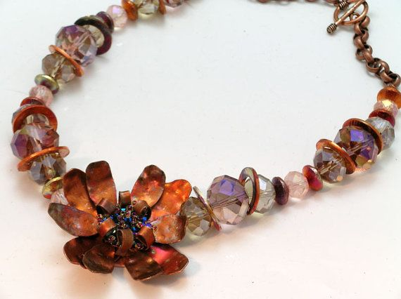 Copper Flower Crystal and Chain Necklace by iKandiesJewelry, $75.00