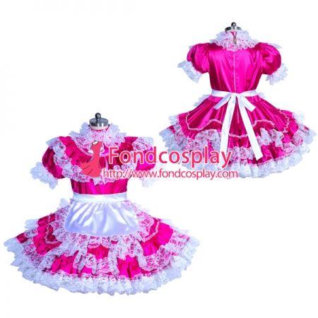 5e9940e76 US$ 119.91 - Sissy maid Satin lockable dress Uniform cosplay costume Tailor- made[
