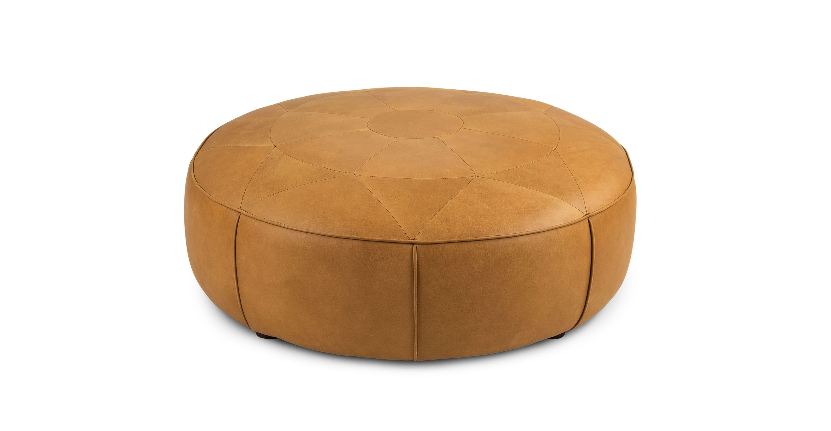tan leather tufted ottoman round article orbis modern furniture