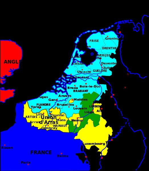 Carte de l'Union d'Utrecht et l'Union d'Arras en 1579 | Cartographie, Genealogie, Carte