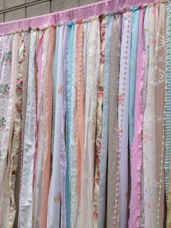 Shower Curtain  Shabby Rustic Chic Romantic Boho   Fabric Garland Backdrop    Rod Pocket 6 Ft X 6 Ft