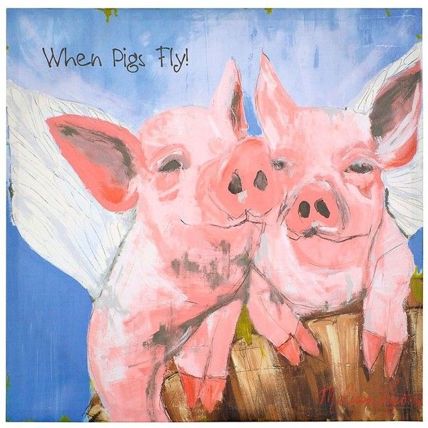 When Pigs Fly Canvas Art Print 14x14 6 06 Liked On Polyvore