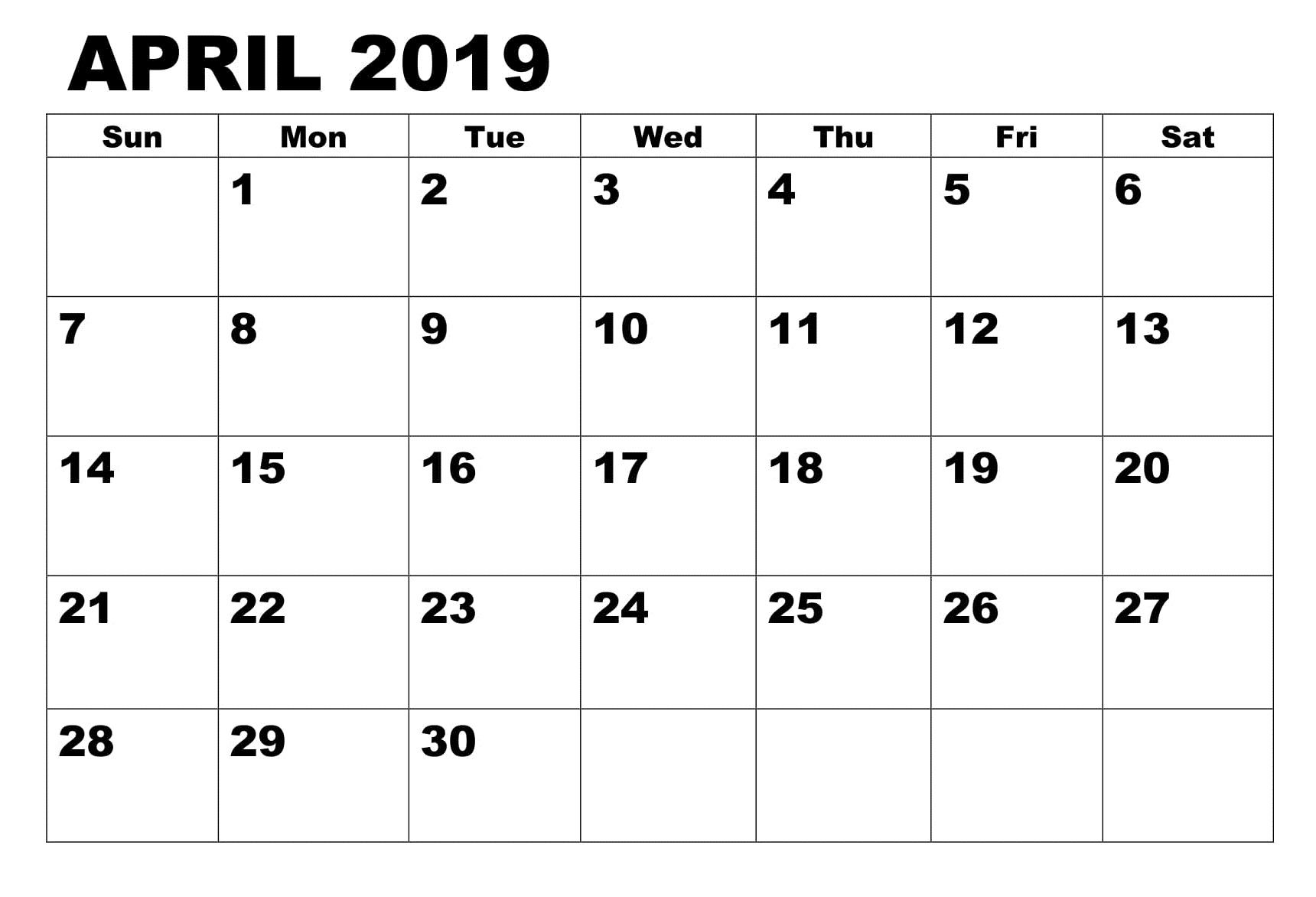 Lunar Calendar For April 2019 Printable Pdf Blank Download