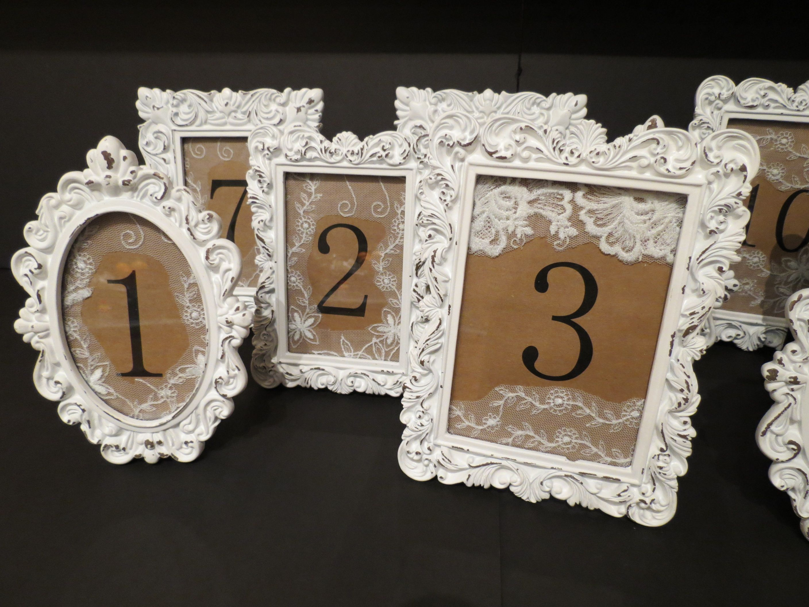 New style wedding stage decoration  Wedding Table Numbers  Vintage Inspired Photo Frames turned into