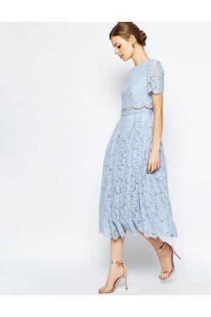 c2a7e1faf325ab Dames - ASOS Lace Crop Top Midi Prom Dress Baby Blauw Jurken