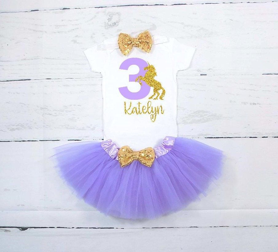 Unicorn Third Birthday Outfit 3rd Shirt Girls By