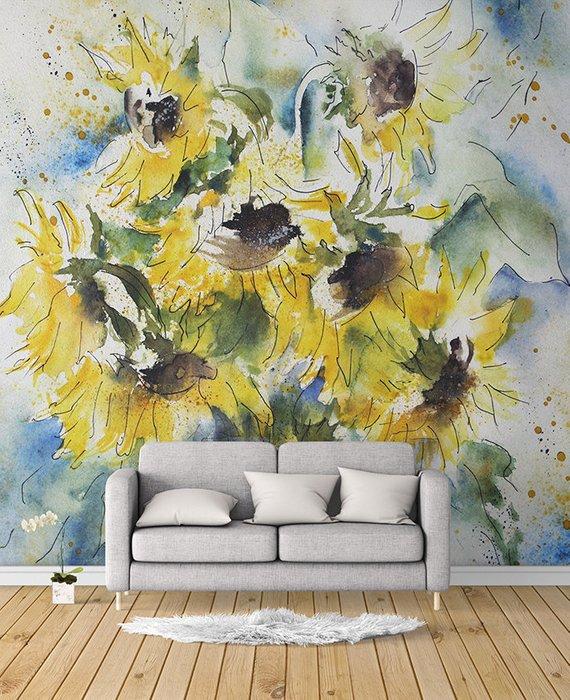 Sunflower Wall Mural Peel And Stick Muralself Adhesive Etsy Watercolor Wallpaper Mural Wall Murals