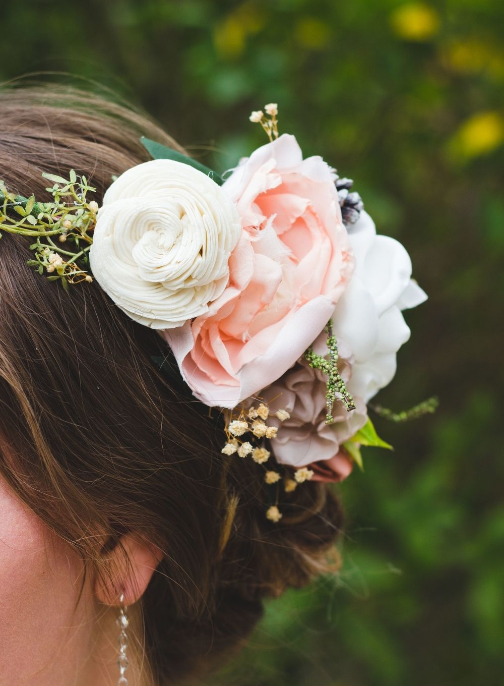 boho fabric flower crown $60 Perfect for spring or garden weddings, boho weddings, bridesmaid gifts, keepsake gifts. This wedding flower alternative lasts forever and will make a beautiful family heirloom. Bridesmaid and bridal hair ideas from Ragga Wedding
