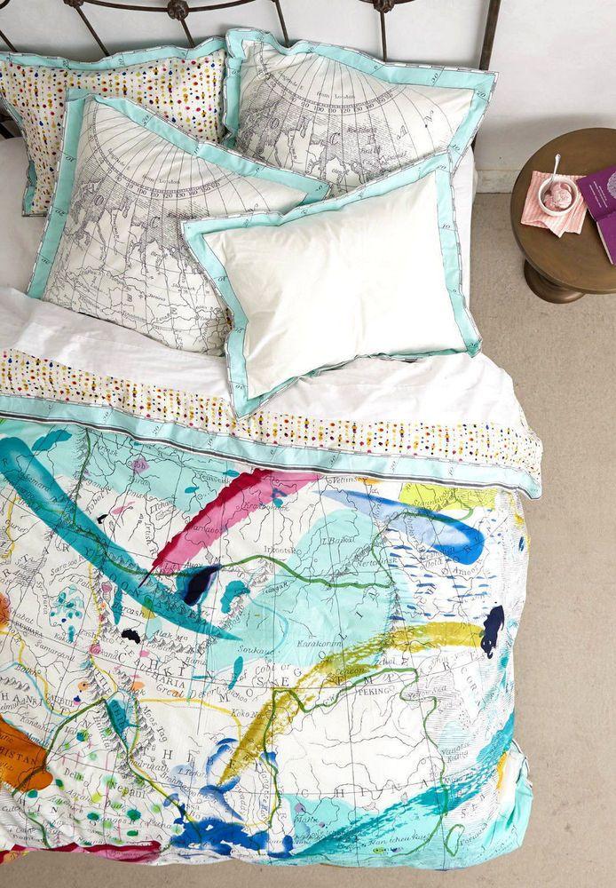 Anthropologie TRADEWINDS KING DUVET Cover World Map Bedding Cotton