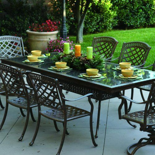 Darlee Sedona 8 Person Cast Aluminum Patio Dining Set With Granite Top Table Antique Bronze Ruby Granite Tile By Patio Dining Set Patio Patio Dining Table