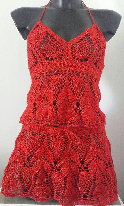 mini skirt,cultivo del verano,halter top crochet, top festival ...