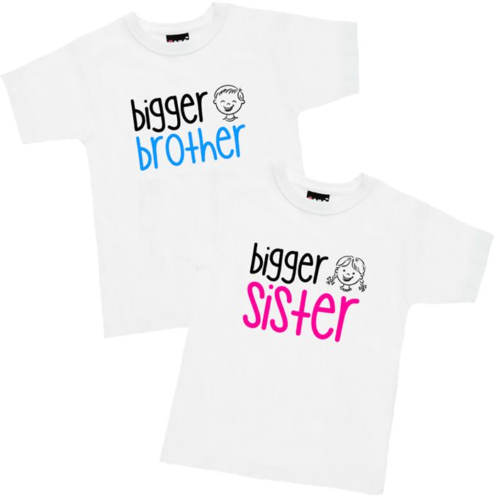 Cartoon Face Bigger Sister or Brother T Shirt or Hoodie