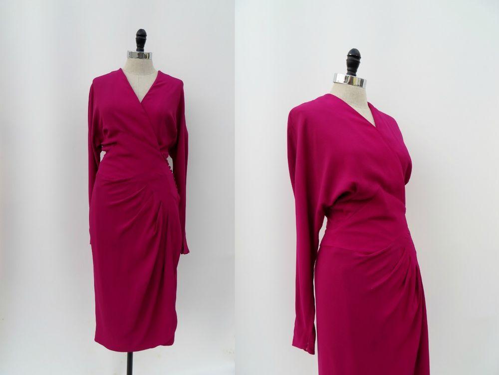 Vintage 1930s Dress Fuschia Pink Crepe Art Deco Size M Wrap None Vintage 1930s Dress Fuschia Dress 1930s Dress