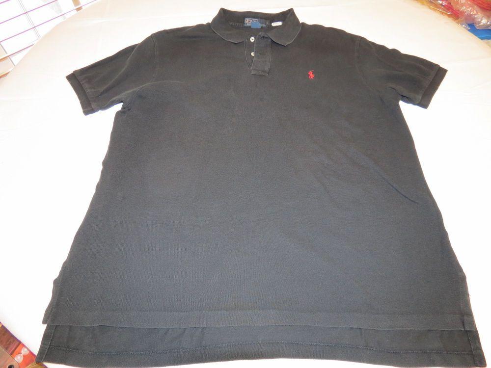 Black · Polo by Ralph Lauren Men's short sleeve polo shirt L black red cotton  EUC@ #