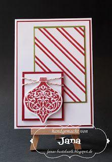 Janas Bastelwelt: Weihnachtskarte mit gefärbten Schrägstreifen
