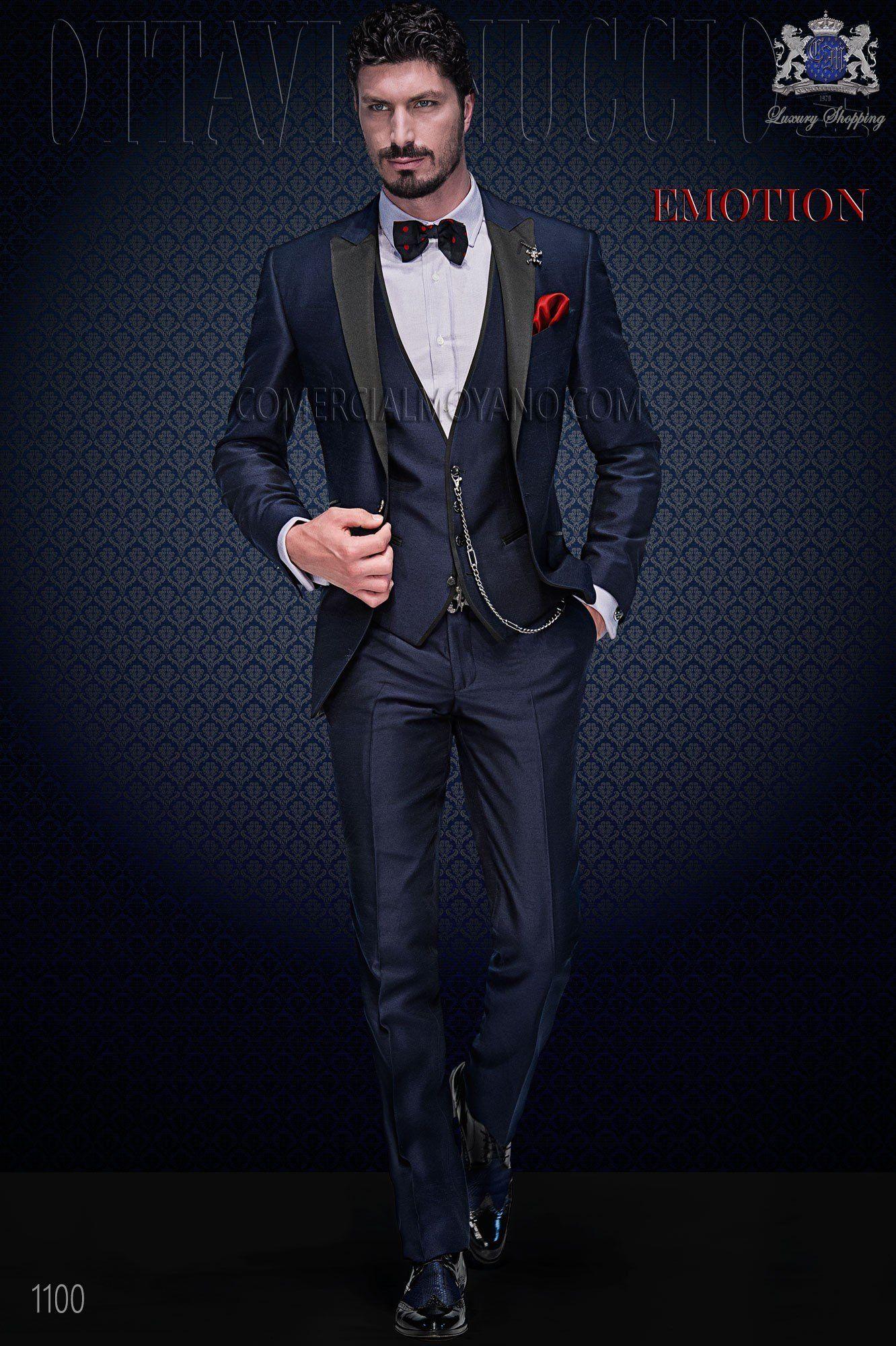 Italienisch maßgeschneiderten blauen Mode Anzug mit schwarzen Satin Revers 9ae9ff1a5be