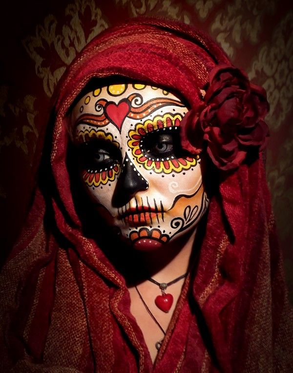 Day Of The Dead Face Art Inspired By Traditional Mexican Sugar Skulls.   Face Painting ...