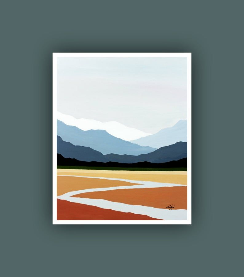 Printable Abstract Art Instant Digital Download Art Mountain Etsy Abstract Landscape Painting Mountain Paintings Modern Art Prints