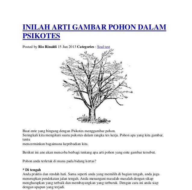 Inilah Arti Gambar Pohon Dalam Psikotes Ari Iswanto Contoh Tes Psikologi Menggambar Tni Polri Youtube Contoh Soal P Menggambar Pohon Gambar Cara Menggambar