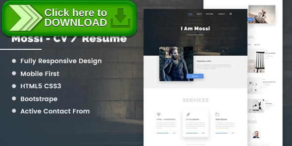 Free nulled Mossi Personal CV Resume download Online cv - online resume download