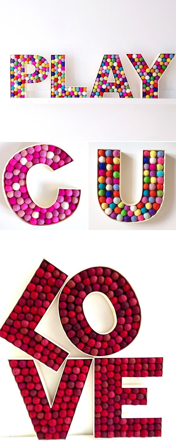 Filled with spheres of color, these letters add a cheerful