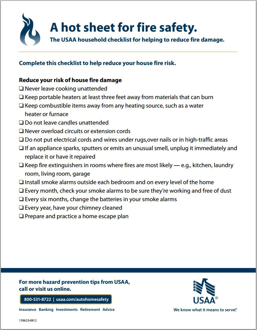 The Usaa Household Checklist For Helping To Reduce Fire Damage