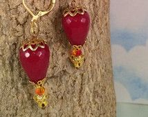 Red Dyed Jade Hot Air Balloon Earrings