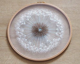 Photo of Make a Wish Dandelion Tulle Embroidery Hoop Art – Bridesmaid, Housewarming Gift – Hand Embroidery by Velvet Meadow