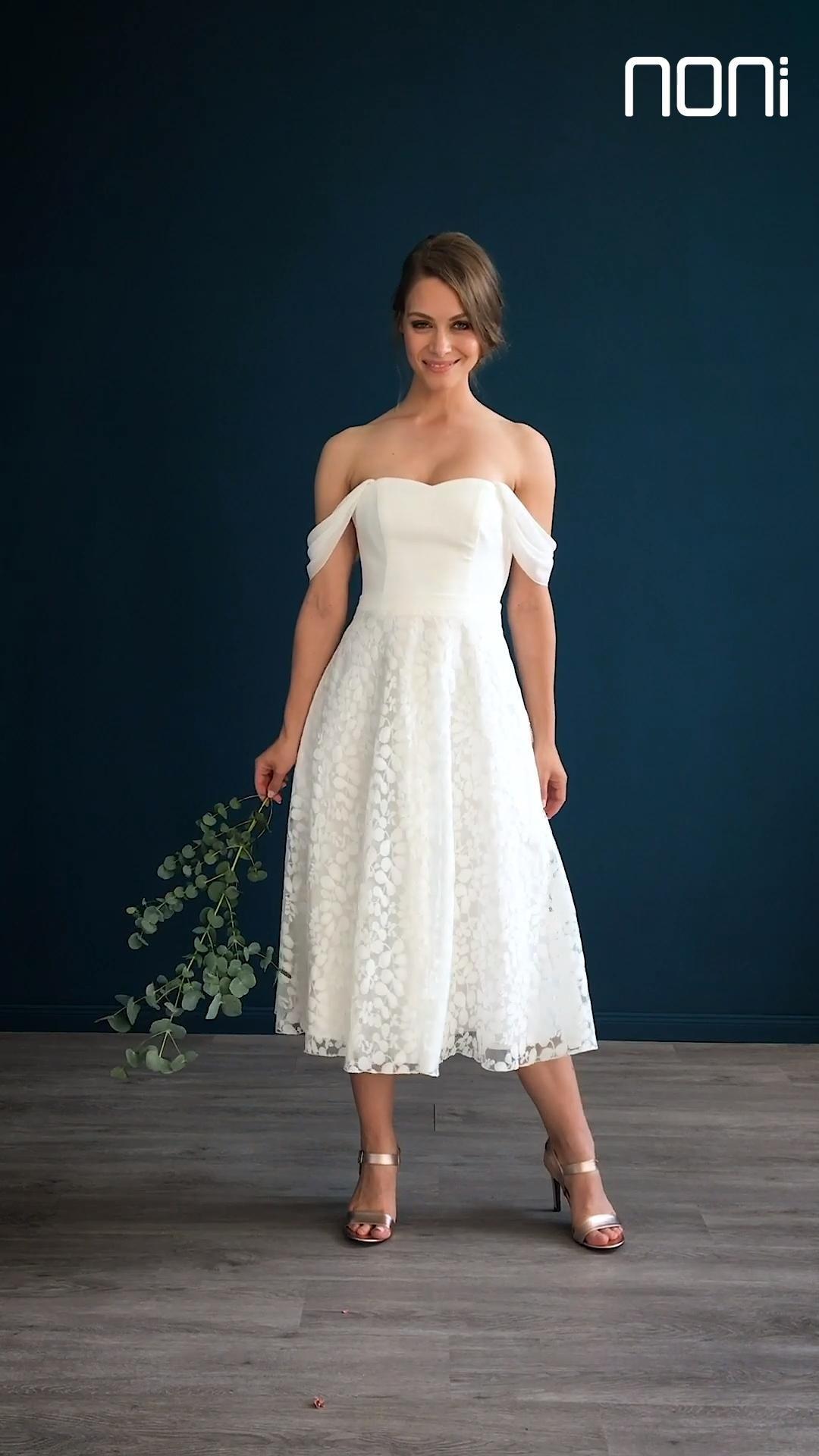 Midi Brautkleid mit Rock aus Blätterspitze und ...
