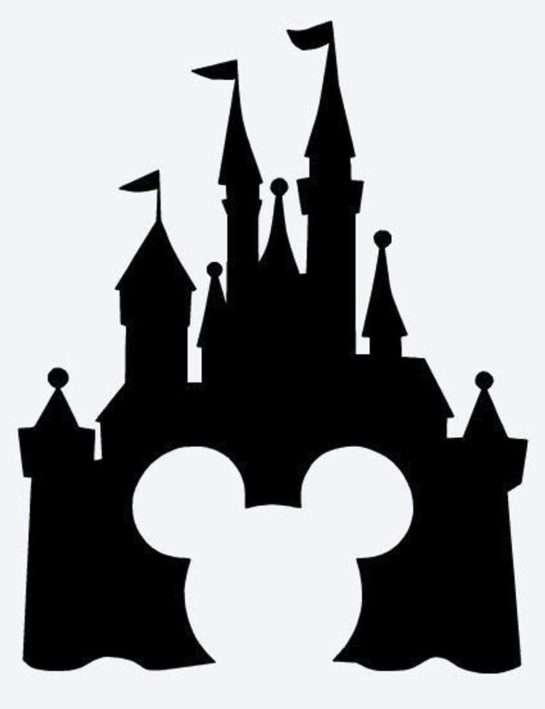 Disney Castle Vinyl Decal Sticker Etsy Chateau De Disney Dessins Disney Pochoir Silhouette