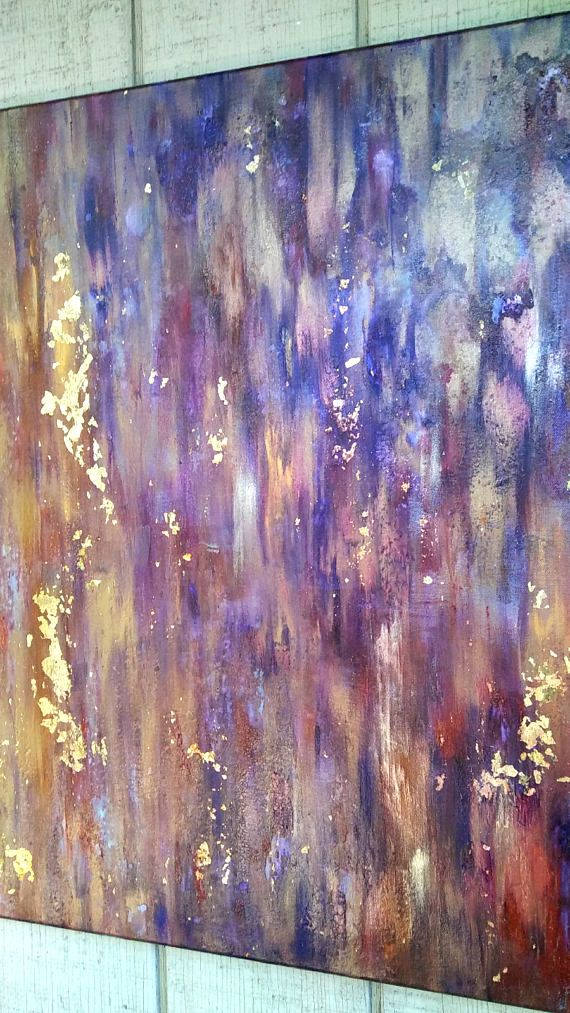 Gold Leaf Abstract Painting 30 X 40 Purple Canvas Wall Art By Abstract Painting Purple Painting Abstract Painting Acrylic