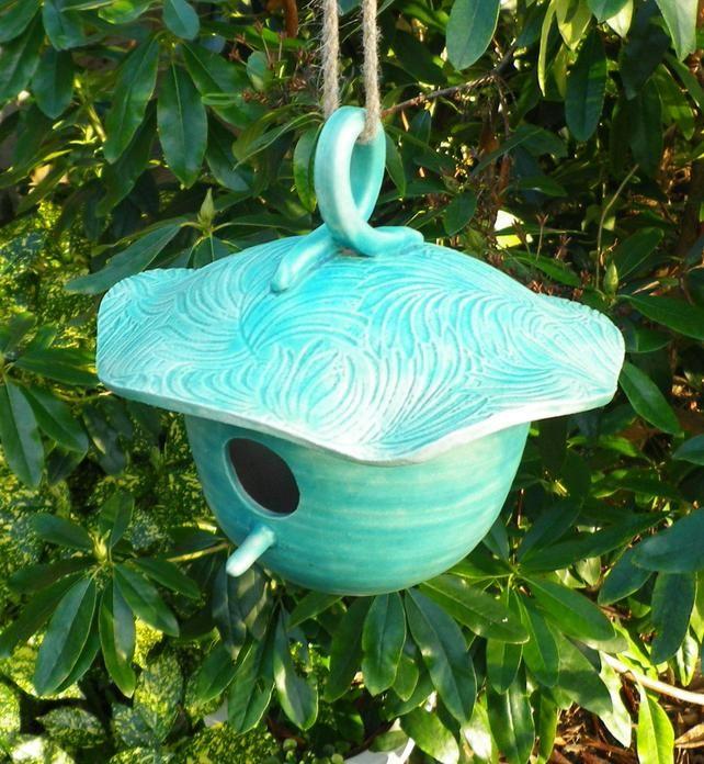 Peach Hanging Ceramic Bird Bath or Feeder