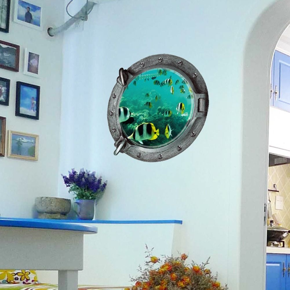 Window decor stickers  us removable ocean sea fish d mural wall sticker kids room bathroom