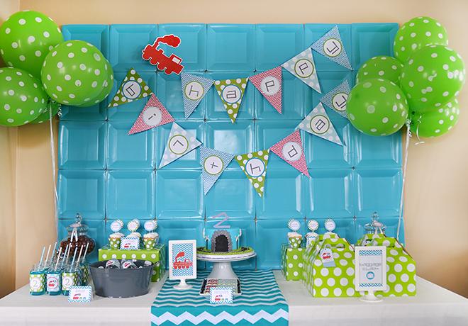 Green Blue Modern Train Birthday Party Birthdays