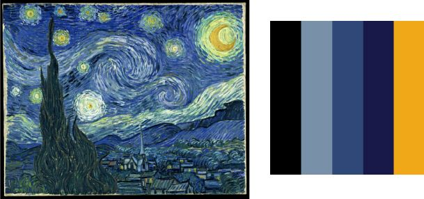 Color Palettes From The Masters In 2019 Starry Night