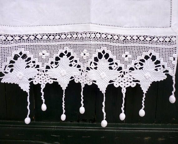 Handmade crochet curtain with atrante and lace-Cottage chic curtains ...
