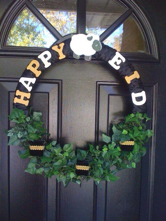 Happy Eid Door Wreath Eid Crafts Diy Eid Decorations