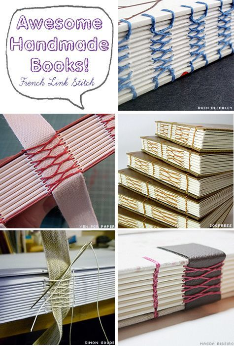 Awesome Handmade Books - French Link Stitch Bookbinding Examples: