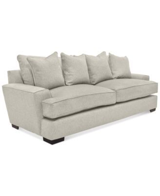 Ainsley Fabric Sofa With 4 Toss Pillows Only At Macy S 1 299 00 The Luxurious Comfort Experience Is Achieved Its Plush And Overstuffed Feather Blend