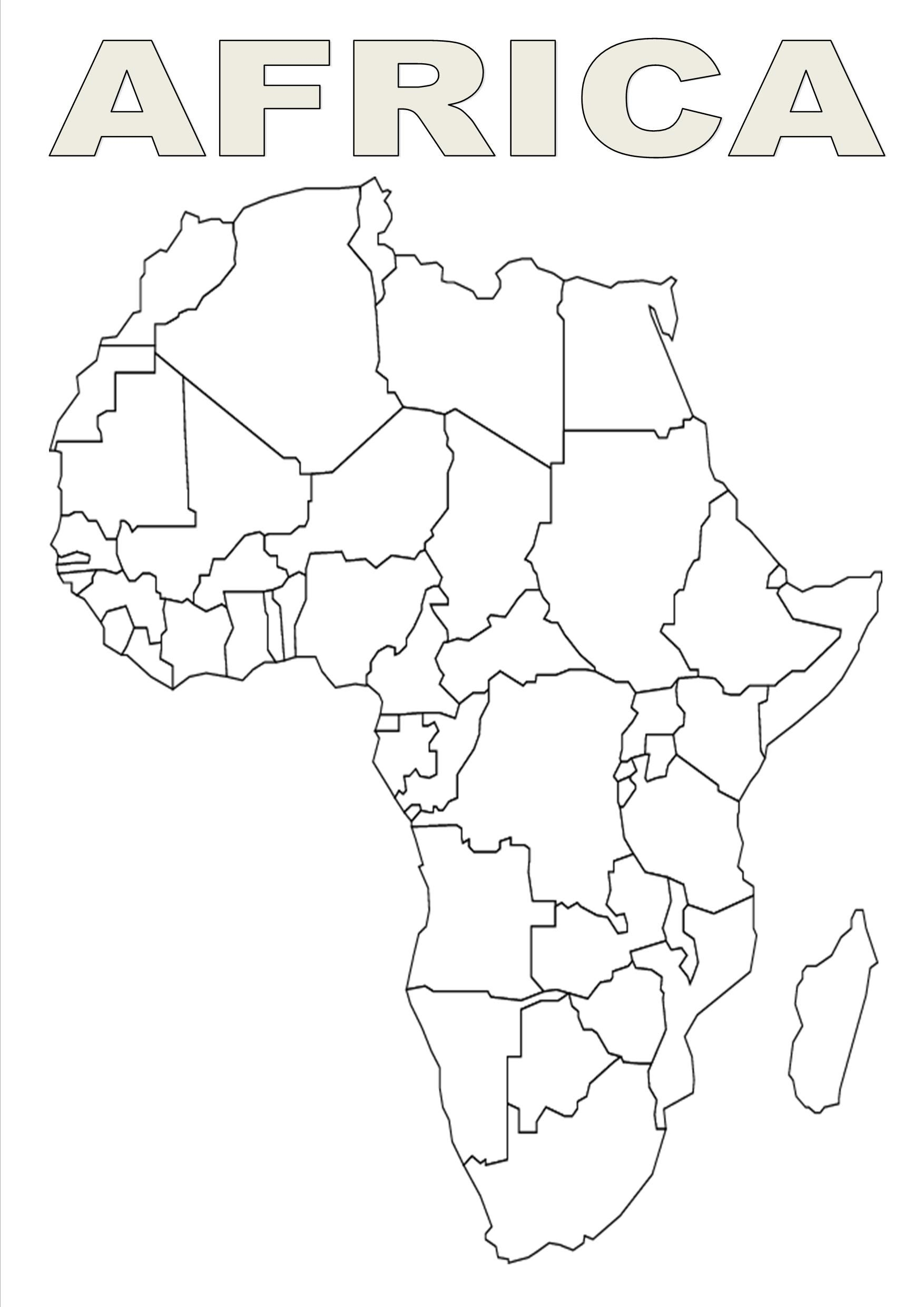 Map of Africa template | silhouettes | World map coloring page