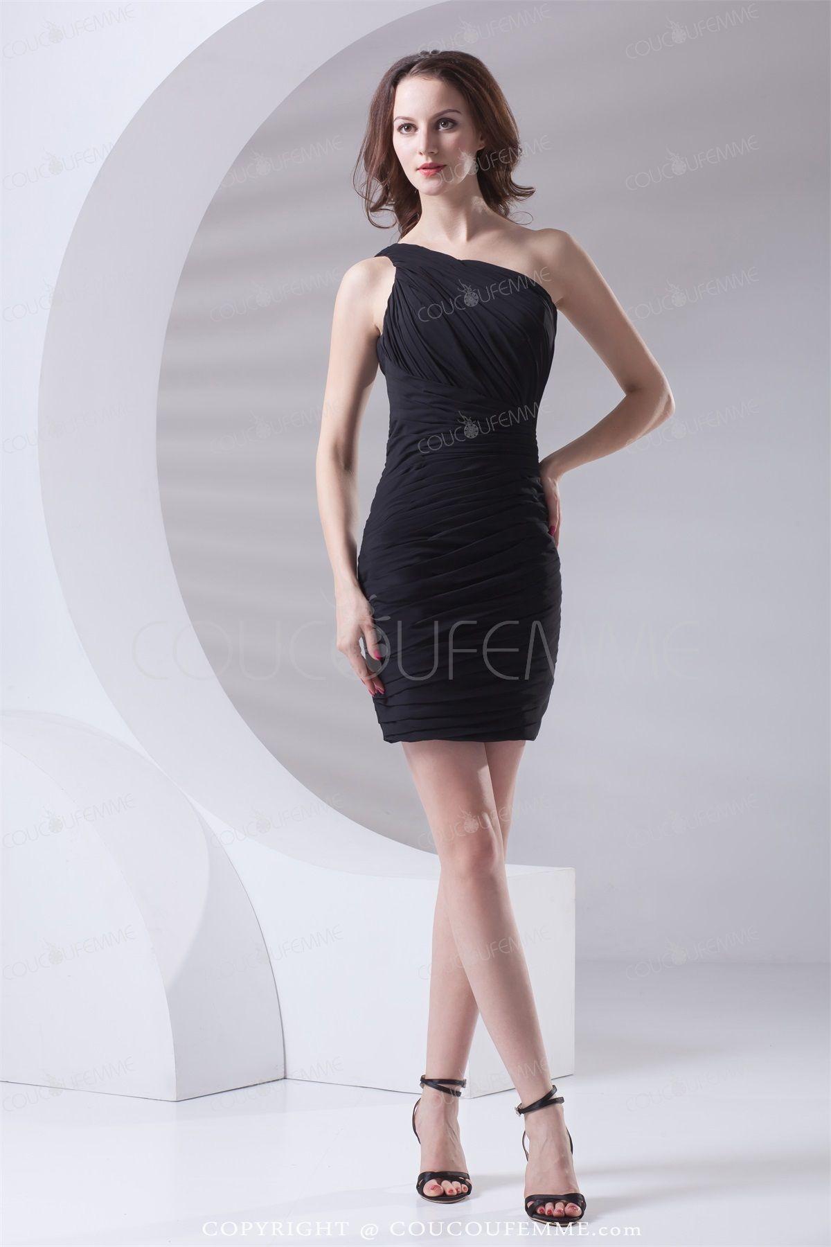 robe de cocktail noire drapée mini sexy une épaule en mousseline de soie 2015