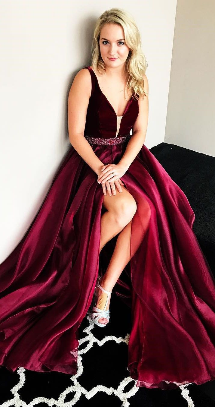 Aline vneck sweep train burgundy prom dress with beading prom