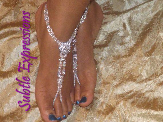 Beach Wedding Barefoot Sandals Foot Jewelry Destination Rhinestone Anklet Sandles