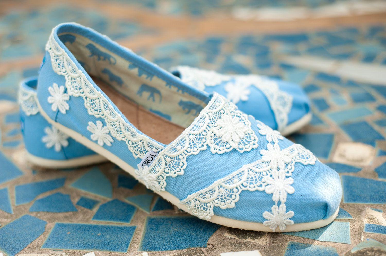 Custom Blue Wedding Toms