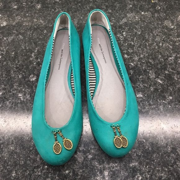 Anthro Trinket Flats Cute teal flats with Tennis Racket trinkets on toes. In excellent used condition! z#0508 Anthropologie Shoes Flats & Loafers