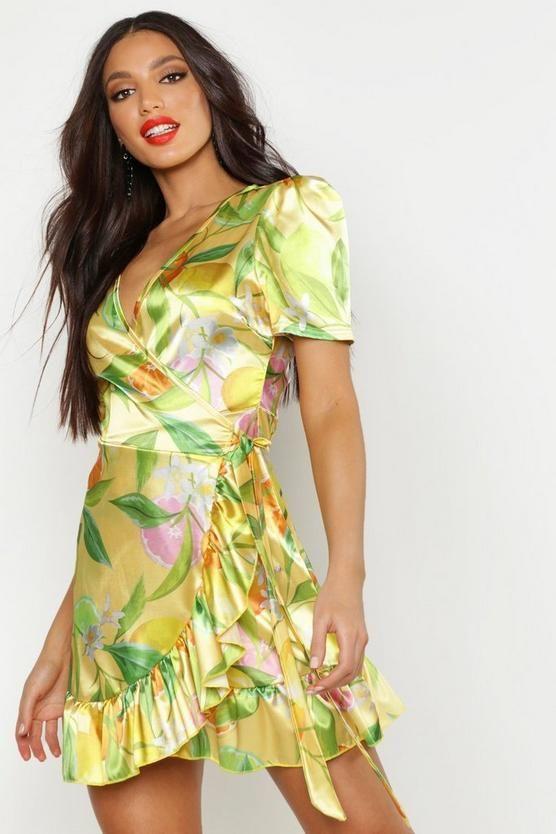d6ecd2f7f1c02 Satin Fruit Print Wrap Dress in 2019 | BOOHOO Wishlist | Wrap Dress ...