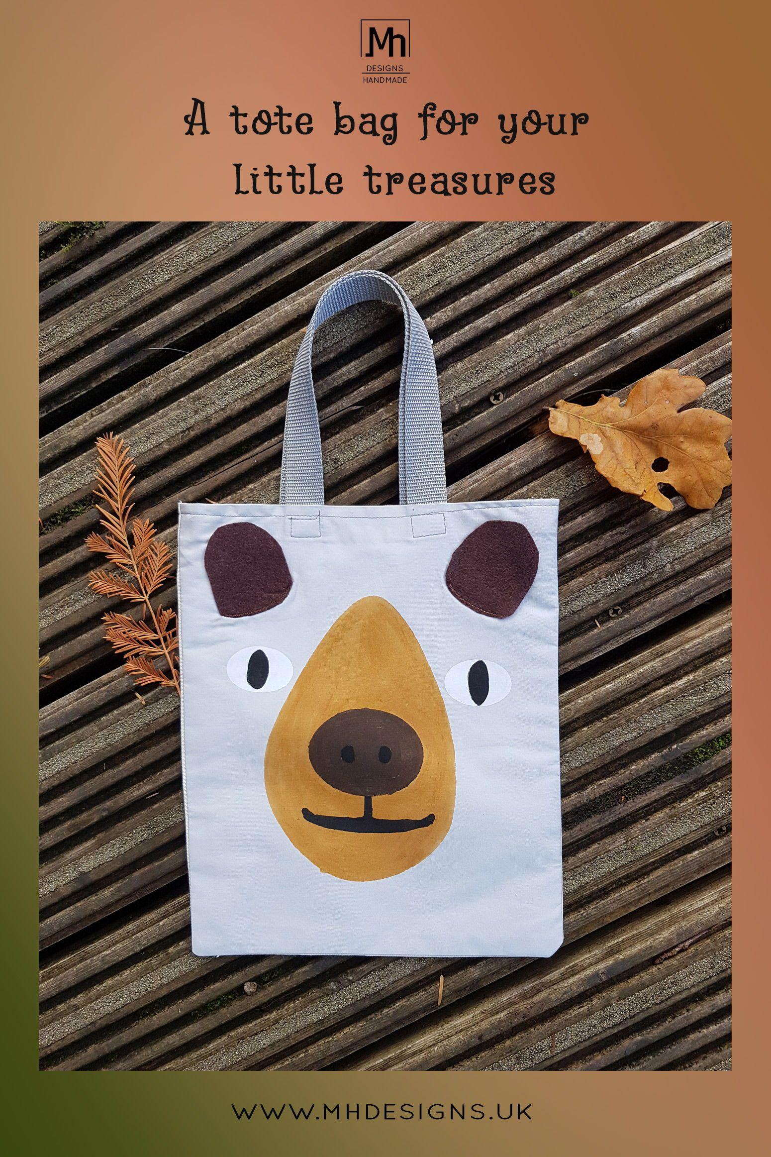 Bear tote bag gift for little boys unisex mini tote bag