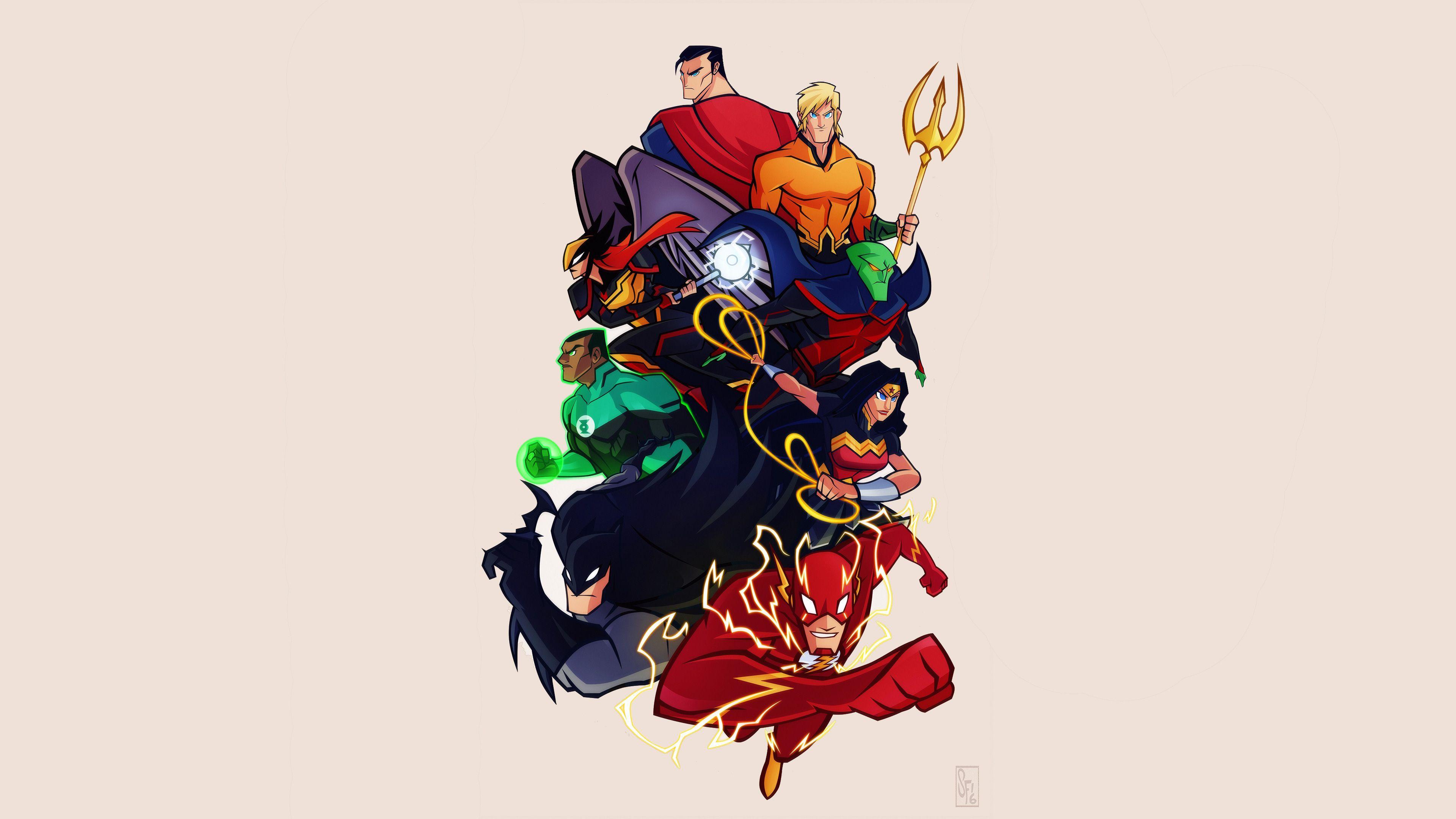 Justice League Cartoon Comic Artwork 4k Wonder Woman Wallpapers Superman Wallpapers Superheroes Wallpapers Cartoon Background Cartoon Wallpaper Cartoons Hd